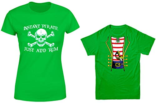 HAASE UNLIMITED Instant Pirate, Just Add Rum/Pirate Costume 2-Pack Youth & Ladies T-Shirt (Kelly/Kelly, Ladies X-Large/Youth Medium) ()