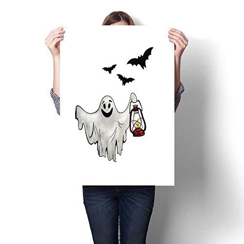 (Anshesix The Picture for Home Decoration Halloween Ghost with Lantern and Bats Hand Drawn Watercolor Illustration Isolated on White Background Canvas Art Posters Prints Wall Art)