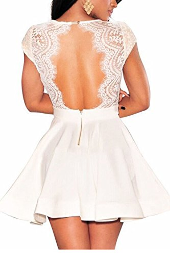 Zeagoo Women's V Neck Lace Open Back Nude Illusion Skater Cocktail Party Dress, Small, White