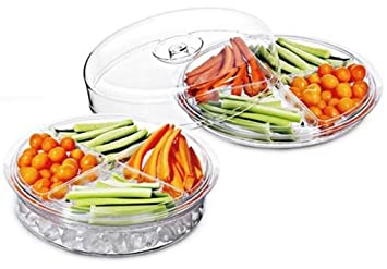 Felli® 6 Piece Acrylic Divided Sections Serving Tray / Compartment Party  Appetizer Platter