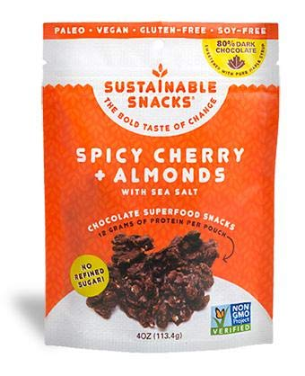 Sustainable Snacks – Plant Based – Vegan, Paleo, Gluten Free, Soy Free and Non GMO for healthy snacking with Fruit, Nuts and 80% Dark Chocolate – No Refined Sugar (Spicy Cherry + Almond, 1 Bag) Review