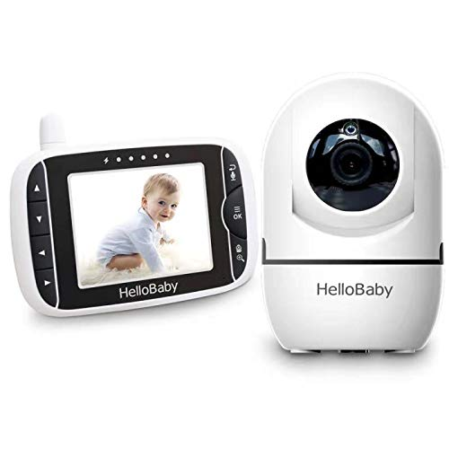 HelloBaby Baby Monitor with 3.2-Inch LCD Display Screen and Remote Camera Pan & Tilt & Zoom, Two Way Talk, Automatic Night Vision, Temperature Sensor, Built-in Lullabies