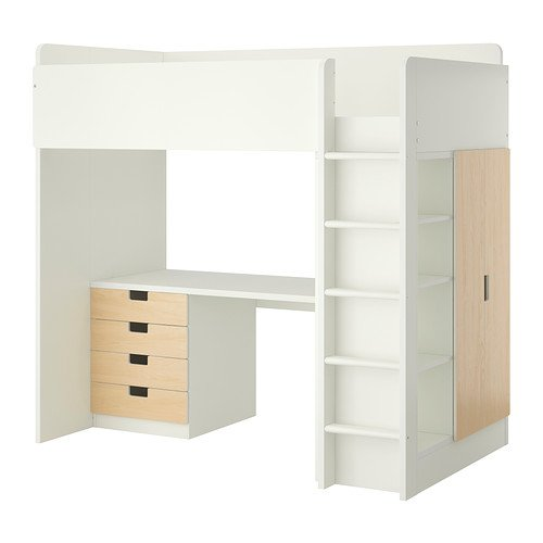 Ikea Twin Size Loft bed with 4 drawers/2 doors, white, birch 38382.82617.1016