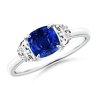 1589c0df2aaa6a Amazon.com: Cushion Blue Sapphire and Diamond Three Stone Ring (6mm Blue  Sapphire): Jewelry
