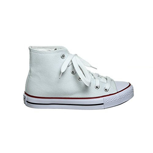 NEW STYLE!! High Top Canvas Women Sneakers (8, white/redTP) [Apparel] - New Styles Shoes