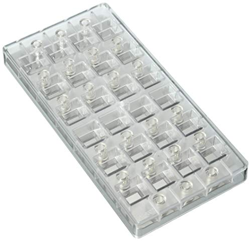 Fat Daddio's PCMM-01 Indented Corner Magnetic Candy & Chocolate Mold, 11 x 5.5 Inch, Translucent ()