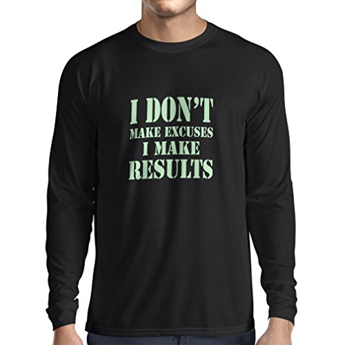 Long Sleeve t Shirt Men I Make Results - Lose Weight Fast Quotes and Muscle Builder Motivational Sayings (XX-Large Black ()