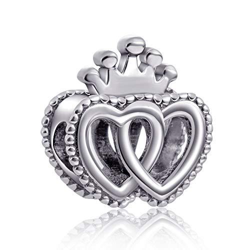 Dangle Crown Double Heart Charm 925 Sterling Silver Beads Fit European Bracelet - Heart Crown Dangle