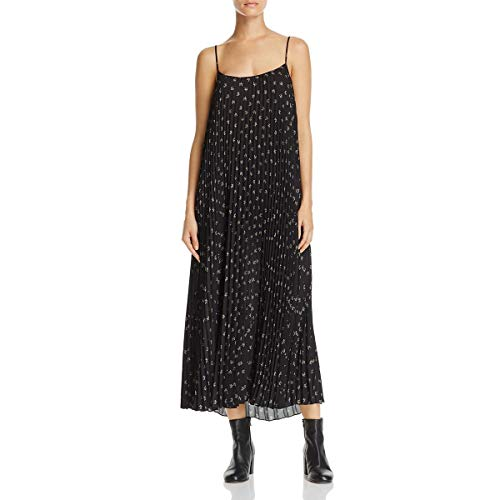 Vince Pleated Dress (Vince Women's Tossed Ditsy Floral Pleated Cami Dress, Black/Linen, M)
