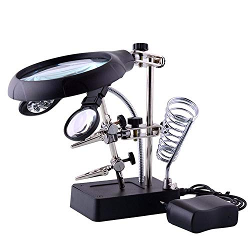 1 piece New Welding magnifying glass 5 LED Light 10X Auxiliary Clip Magnifier 3 In1 Hand Soldering Solder Iron Stand Holder Station