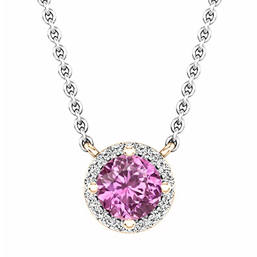 - Dazzlingrock Collection 14K Round Pink Sapphire And White Diamond Ladies Halo Pendant (Silver Chain Included), Rose Gold