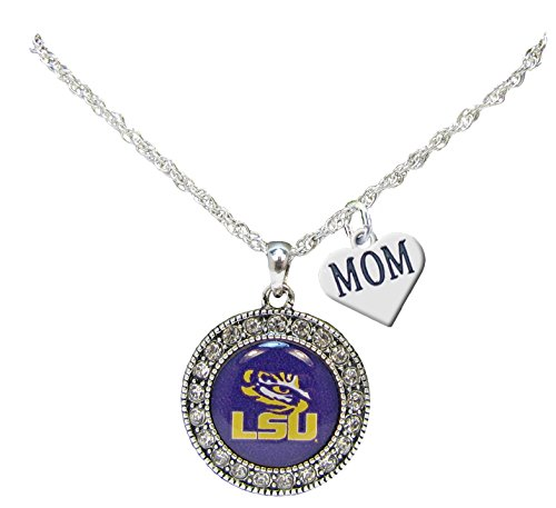 Holly Road LSU Tigers Silver Crystal Necklace WITH MOM CHARM Jewelry Louisiana State University