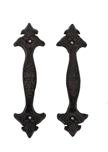 Classic Fleur-De-Lis Design Cast Iron Draw Pull Handles Size 6 1/2