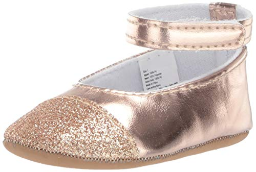Little Me Baby Girl Shoes with Velcro Straps, Rose Gold Mary Jane Flat, 0-6 Months US Infant