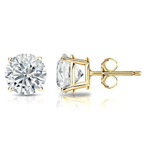 GIA Certified 14k Yellow Gold Round Diamond Stud Earrings 4-Prong (2.00 cttw, G Color, SI1 Clarity, Very good - Si1 Very Clarity Color Good