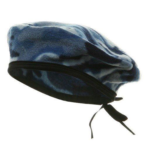 e4Hats.com Camo Fleece Beret-Light Blue