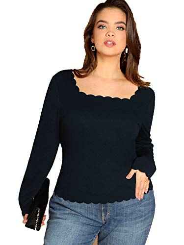 Romwe Women's Plus Size Square Neck Scallop Long Sleeve Blouse Top Navy 2XL (Neck Plus Square)