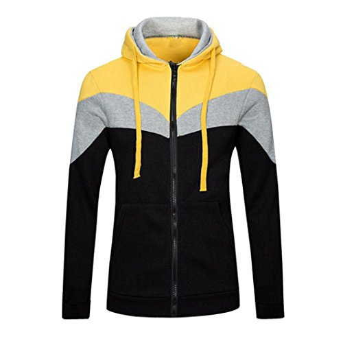 Leegor Men Sport Hoodie Stitching Hooded Sweatshirt Cotton Coat Jacket Outwear (M, Yellow)