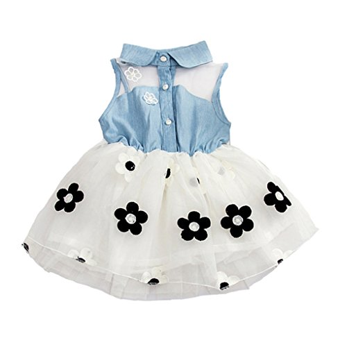 Younger Tree Infant Baby Girls Kids Princess Dress Denim Vest Tulle Skirt Tutu Dress (1-2Y, White)