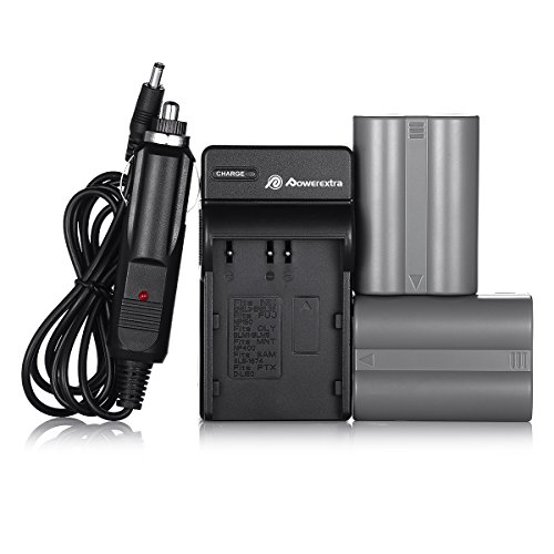 Powerextra 2 Pack Replacement Nikon EN-EL3E Battery and Charger for Nikon D50, D70, D70s, D80, D90, D100, D200, D300, D300S, D700 Digital SLR Cameras (Free Car Charger Available Now)