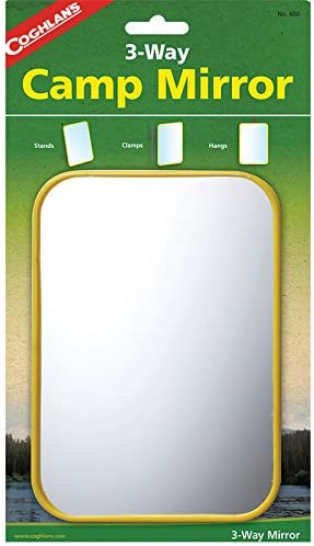 COUGHLANS LIGHTWEIGHT CAMPING MIRROR SMALL//COMPACT//SIGNALLING.STAINLESS STEEL