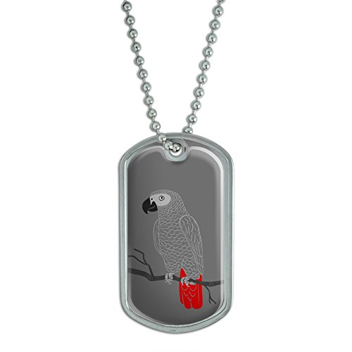 African Grey Parrot - Bird Military Dog Tag Keychain