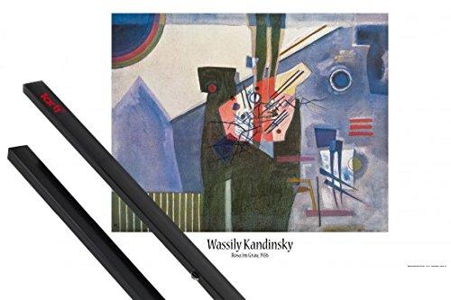 1art1 Poster + Hanger: Wassily Kandinsky Poster  Pink in Gre