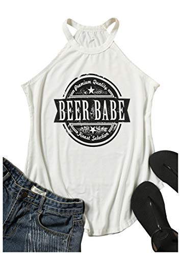 HDLTE Beer Babe O-Neck Tank Women Sleeveless Muscle Tee Letters Graphic Tank Top Shirt with Funny Saying Size L (White)