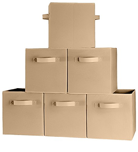 6-Pack TOP QUALITY Tan Color Fabric Cloth Storage Cubes Shelves Baskets Bins Containers Home Decorative Closet Two Handles Organizer Household Fabric Cloth Collapsible Box Toys Storages Drawer