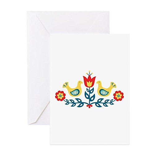 CafePress - Scandinavian Swedish Decorative Floral Folk Art Bi - Greeting Card (20-pack), Note Card with Blank Inside, Birthday Card ()