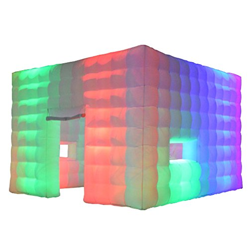 Inflatable Marquee Inflatable LED Cube Tent Inflatable Booth 16.4x16.4x11.5 feet with LED Wall Washer for Weddings Parties Events Advertising Rental