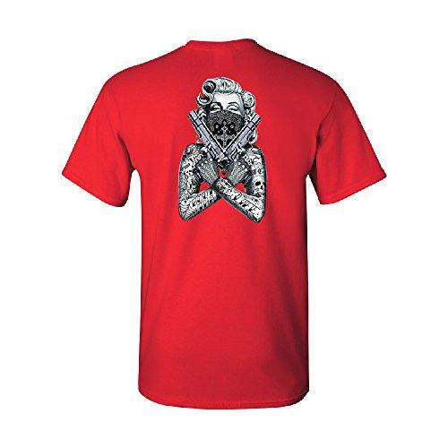 Marilyn Monroe Black Bandana Cross Men's T-Shirt Fancy Fashion Tee Red Small