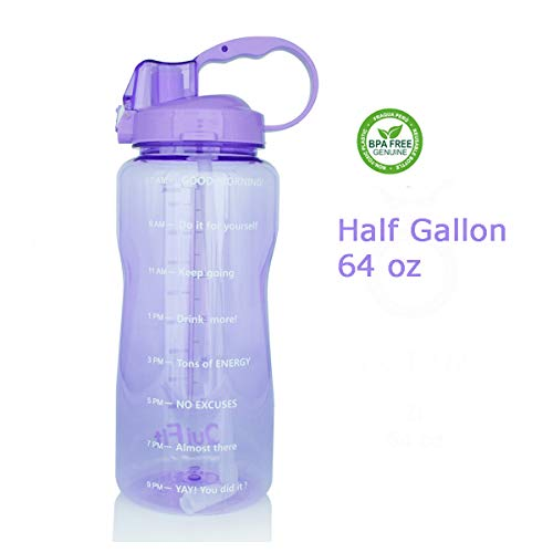 QuiFit 64oz Portable Drinking Straw Daily Water Bottle Sport Water Jug Gallon BPA Free Non Leak Design with Time Marked to Ensure You Drink Enough of Water Throughout The Day(Amethyst)
