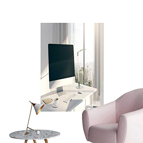 Wall Decor for Home Living Room Sideview Desktop bl k Computer Screen in Sunlit Office Windows Safe Painted Wall Decoration,28