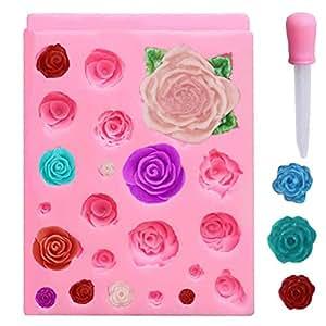 nuosen Molde de Silicona con 21 cavidades de Rosas para Fondant, decoración de Pasteles,