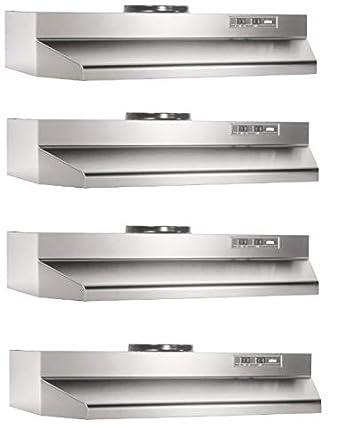 Broan-Nutone 424204 Range Hood Insert with Light, Exhaust Fan for Under Cabinet, Stainless Steel, 6.0 Sones, 190 CFM, 42