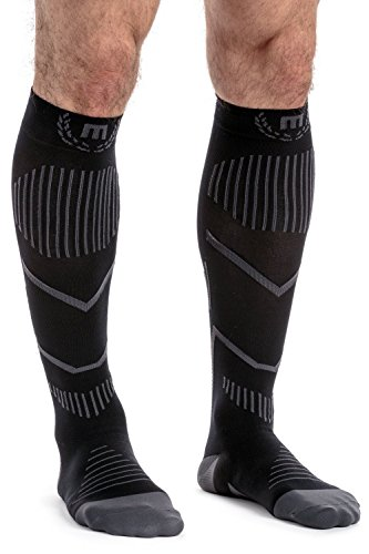 MavaSports Compression Socks for Running, Jogging, Cross Training, Workouts, Basketball, Hiking, Tennis, Cycling -Ankle, Calf and Leg Support Recovery & Relief (Black & Gray, Small)