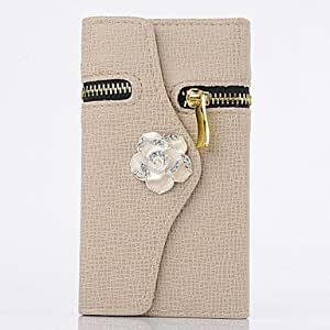 PEACH Camellia Wallet PU Leather Full Body Case for iPhone 6 Plus(Assorted Colors) , White-Black
