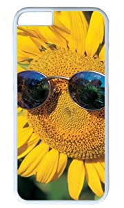 Lovely Sunflower Wear Glasses DIY Hard Shell White iphone 6 Case Perfect By Custom Service