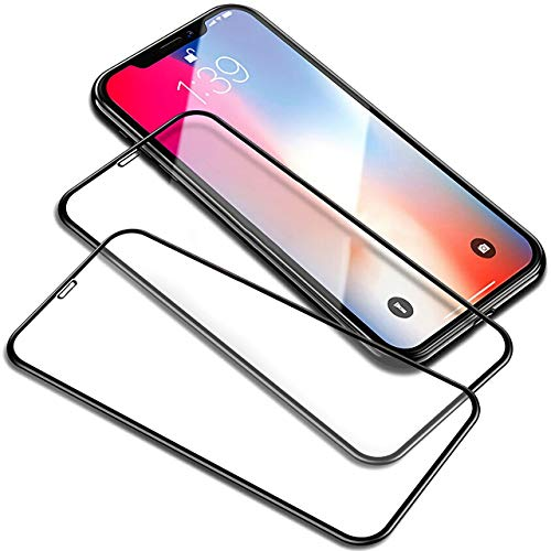 YJan Anti-Oil Anti-Fingerprint Screen Protector Crystal Clear Full Coverage Screen Protector Bubble Free Scratch Proof Tempered Glass Screen Protector Compatible iPhone X (2 Pack)