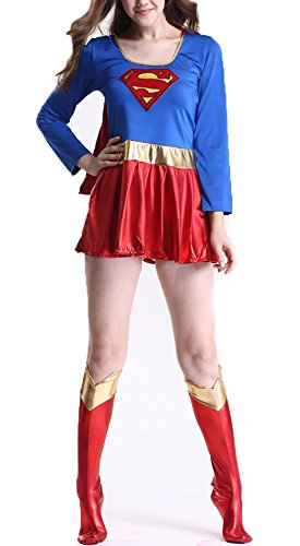YISABELL Super DC Heroes Supergirl Costume (Medium, Red/Blue) (Super Girl Costume)