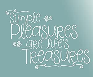 Wall Décor Plus More WDPM3151 Easures Are Life's Treasures Wall Art Lettering Vinyl Decal, 23-Inch X 16.5-Inch, White