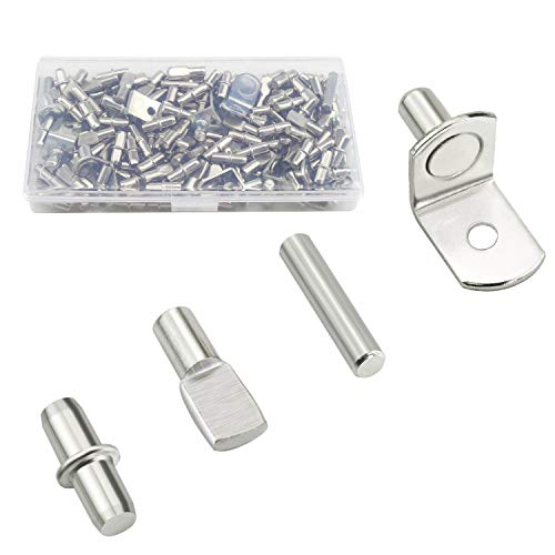 Sutemribor 100PCS Nickel Plated Shelf Bracket Pegs Cabinet Furniture Shelf Pins Support, 4 Styles