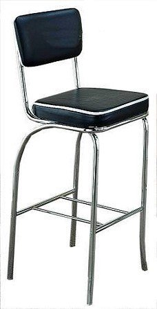 Diner Style Bar Stool (50's Retro Nostalgic Style Set of 2 Fountain Bar Chairs/stools with Chrome Plating and Black Covered Cushioned Seat and Back)