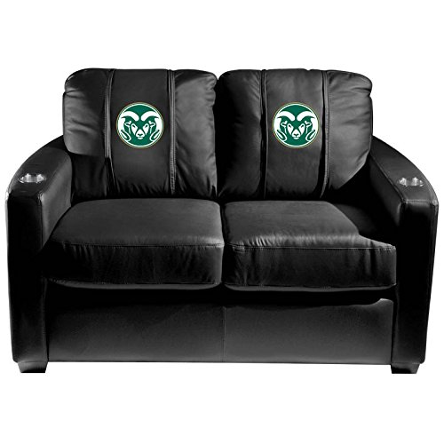 XZipit College Silver Loveseat with Colorado State Rams Logo Panel, Black