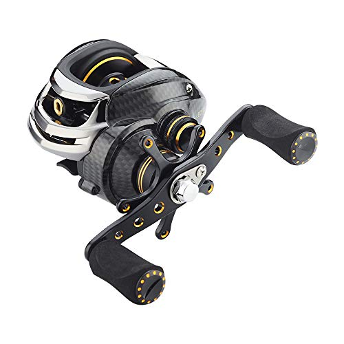 High Reel Speed Baitcasting - Fishdrops Baitcasting Reels Double Brake Systems Baitcaster Reel High Speed Gear Ratio 7.0 Ultra Smooth Low Profile Fishing Reel