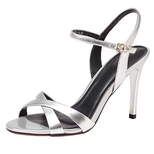 Mode Sandali Zanpa 9 Donne 4 silver Pelle 5cm Stiletto SwqU5fq7