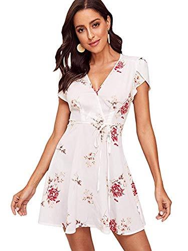 Vestido Cortos Flores Blancas Mujer Fiesta Elegante Talla