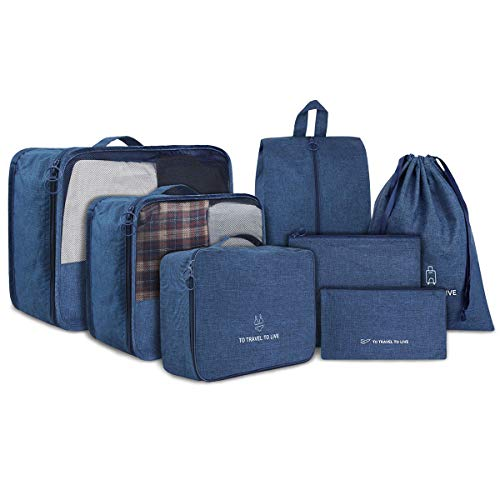 Packing Cubes STURME 7 Set Luggage Organizer for Travel with Shoes Bag and Laundry Bag (Blue)
