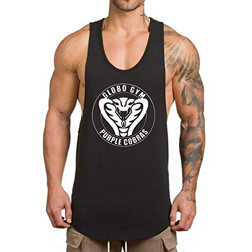 O2TEE Men's Globo Gym Purple Cobras Dry Fit Muscle Gym Workout Tank Tops Sleeveless T Shirts Black S (Cobra T-shirt Sleeveless)